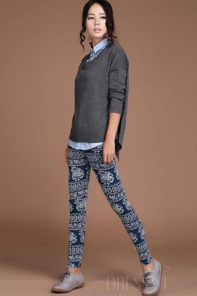 Blue/Gray Elastic Cotton Leggings | Dressve fashion | Scoop.it