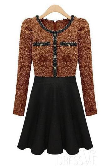 Color Block Long Sleeve Woolen Dress   Dressve fashion   Scoop.it