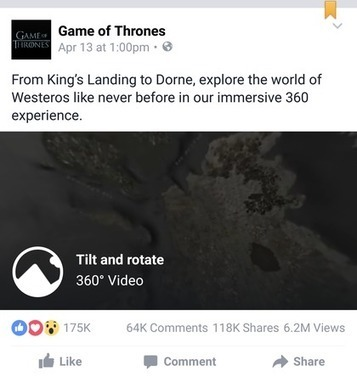 Game of Thrones fortifies anticipation via 360-degree Facebook video - Mobile Marketer - Video | Publicite | Scoop.it