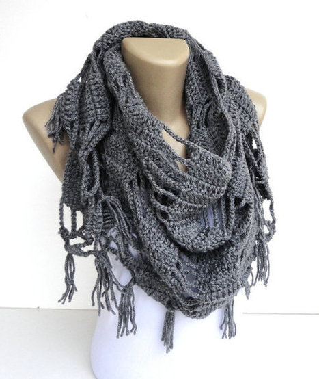 gray neckwarmer ,scarf ,shawl ,womens gray fashion cowl ,crocheted scarves , gift ideas for her | scarf | Scoop.it