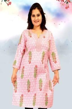 Light Pink Cotton Printed Casual Kurti | Buy Online @ Rs357.50 on ALPINE | KURTIS | Scoop.it