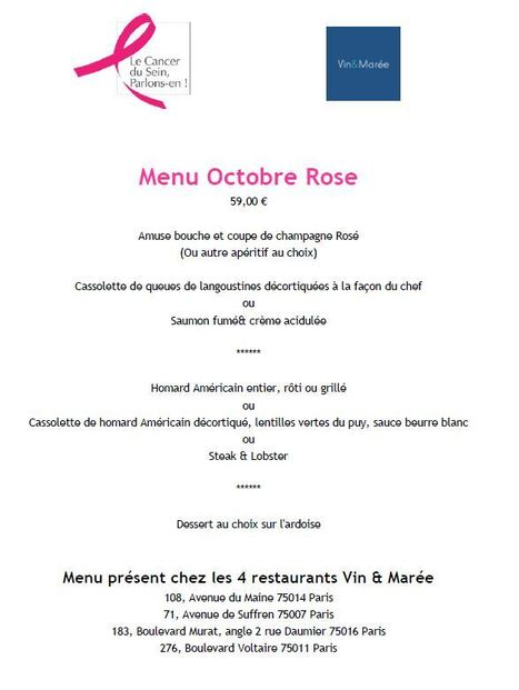 Octobre Rose chez Vin & Marée ! | Gastronomie Française 2.0 | Scoop.it