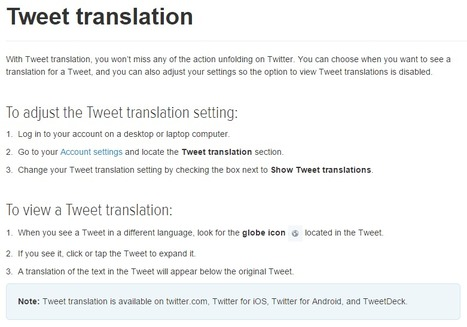 Twitter Help Center | Tweet translation | Social Media and its influence | Scoop.it