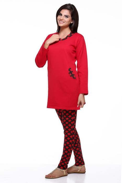Polka Dot Print Neck Winter Nightsuit | Women Winter Clothes | Scoop.it