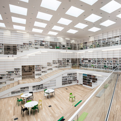 Stairs spiral around interior of Adept's Dalarna Media Library | What's new in Industrial Design? | Scoop.it