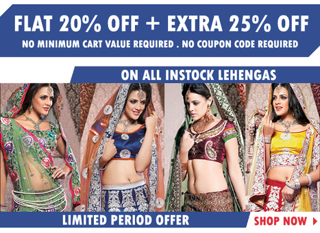 OFFER Flat 20% OFF | Get the simplicity and grace with these extraordinary Lehengas | Deals, Offers & Updates | Scoop.it