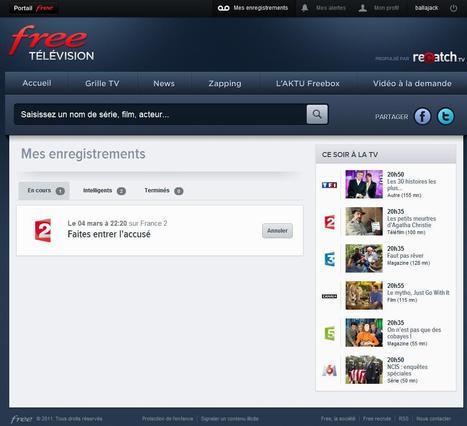Free Recatch TV, le programme TV et l'enregistrement depuis son navigateur | Time to Learn | Scoop.it