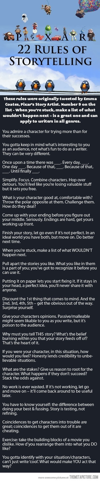 Pixar's  22 Rules Of Storytelling by Emma Coates,Pixar's Story Artist | Creative_Inspiration | Scoop.it