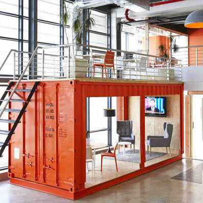 Inhouse Brand Architects offices waiting room in a shipping container | bureau : espace innovant | Scoop.it