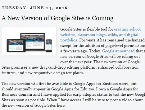 Free Technology for Teachers: A New Version of Google Sites is Coming | Technology Tips | Scoop.it