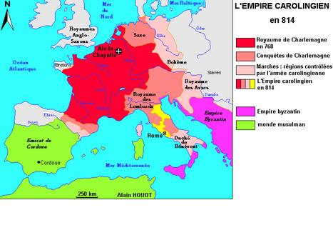 Carte de l'Empire Carolingien en 814 | Les Héros Oubliés - Ressources documentaires | Scoop.it