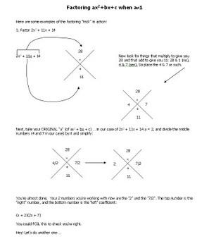 Math Teacher Mambo: Factoring Trick | Quadratics&Polynomials --- Algebra 1 | Scoop.it