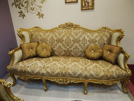 Gold Antique Carved Sofa Set For Living Room