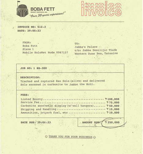 Boba Fett's Invoice: No Taxes? | All Geeks | Scoop.it