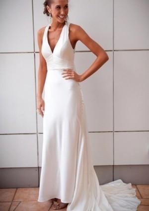 Flattering V-neck Sweep Train Ruched Dress - Beach Wedding Dresses - Wedding Dresses | Wedding Dresses | Scoop.it