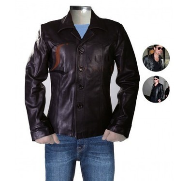 Brad Pitt Shirt Style Slim Fit Black Leather Jacket | Unique collection of celebrity jackets its now | Scoop.it