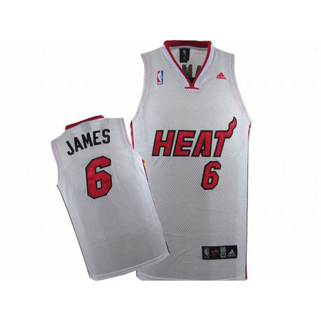 NBA Heat James #6 White Adidas Jersey Red Black Number | new and share style | Scoop.it