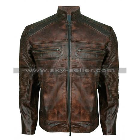 Mens Vintage Cafe Racer Brown Distressed Jacket   Sky-Seller : Men Leather Jackets   Scoop.it