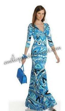 For Sale Emilio Pucci V-Neck Long Dress Blue Print [Blue Print V-Neck] - $205.99 : Emilio pucci dresses online outlet,discount pucci dresses on sale! | chic items | Scoop.it