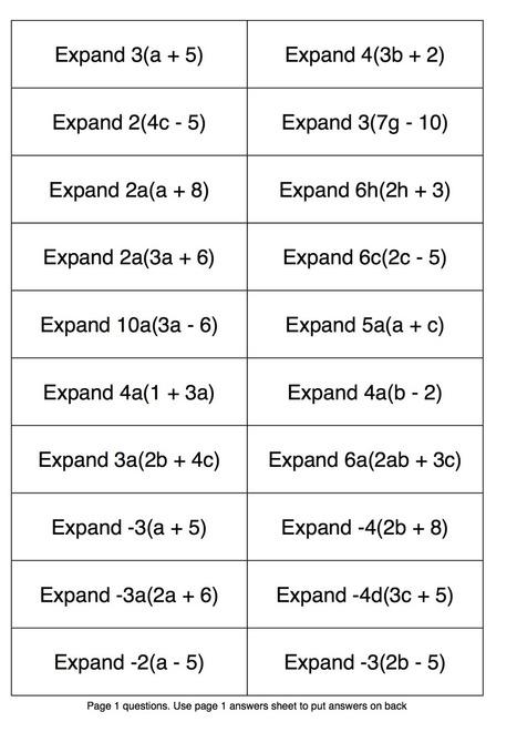 Expanding single brackets- ask ask trade activity | Great Maths Teaching Ideas | Teaching Math | Scoop.it