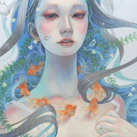 Delicate Japanese Oil Paintings of Ethereal Woman Submerged with Nature | Le It e Amo ✪ | Scoop.it