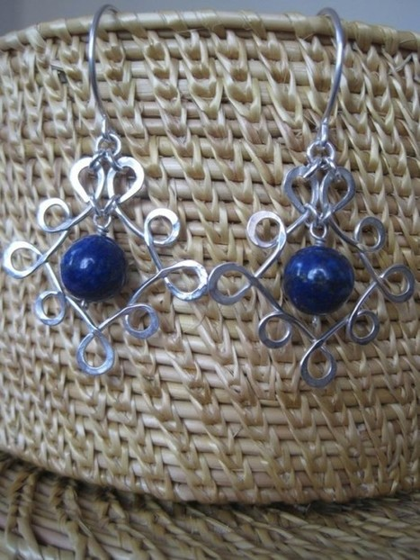 Sterling Silver Spiral and Lapis Lazuli Earrings - C-D-07 - Craftsia - Indian Handmade Products & Gifts | Indian Handmade Jewelry | Scoop.it