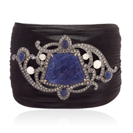 18k Gold Blue Sapphire Cuff Bracelet | Wholesale Jewelry | GemcoDesigns | Pave Diamond Bracelets | Diamond Jewelry | GemcoDesigns | Scoop.it