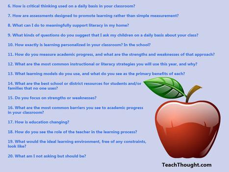 20 Substantive Questions Parents Should Ask Teachers | Time2Wonder | Scoop.it