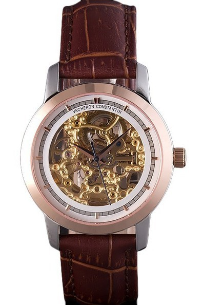 Replica Vacheron Constantin White Skeleton Watch with Rose Gold Bezel and Brown Leather Strap-$199.00 | Men's & Women's Replica Watches Collection Online | Scoop.it