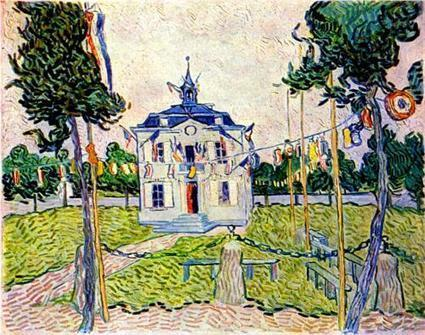 Auvers Town Hall in 14 July 1890 1890 by Vincent Van Gogh   Van gogh Replica Paintings for Sale   Scoop.it