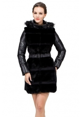 Black faux fox fur 100% goose filler with hat middle down coat | Comfortable faux fur coat fashion | Scoop.it
