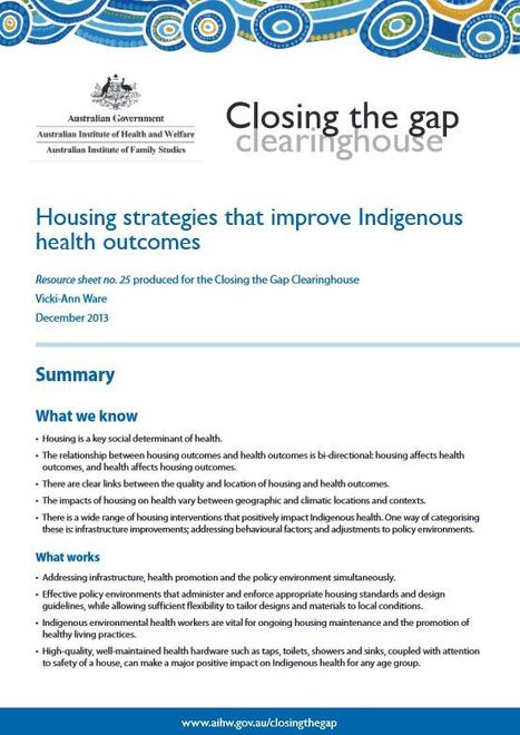 Housing strategies that improve Indigenous health outcomes (AIHW report)   Social prescribing   Scoop.it