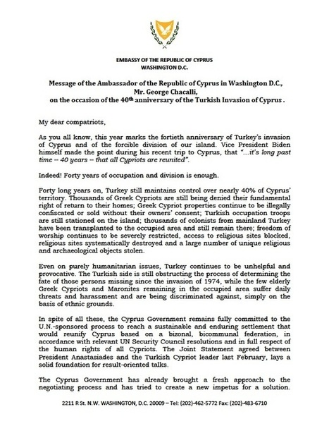 Message of the Ambassador of the Republic of Cyprus on occasion of the 40th anniversary of the Turkish invasion of Cyprus | Politically Incorrect | Scoop.it