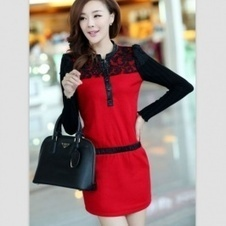 Buy Vogue Lace Flower Slicing Long Sleeve Autumn Dress Red with cheapest price|wholesale-dress.net | fashion pants | Scoop.it