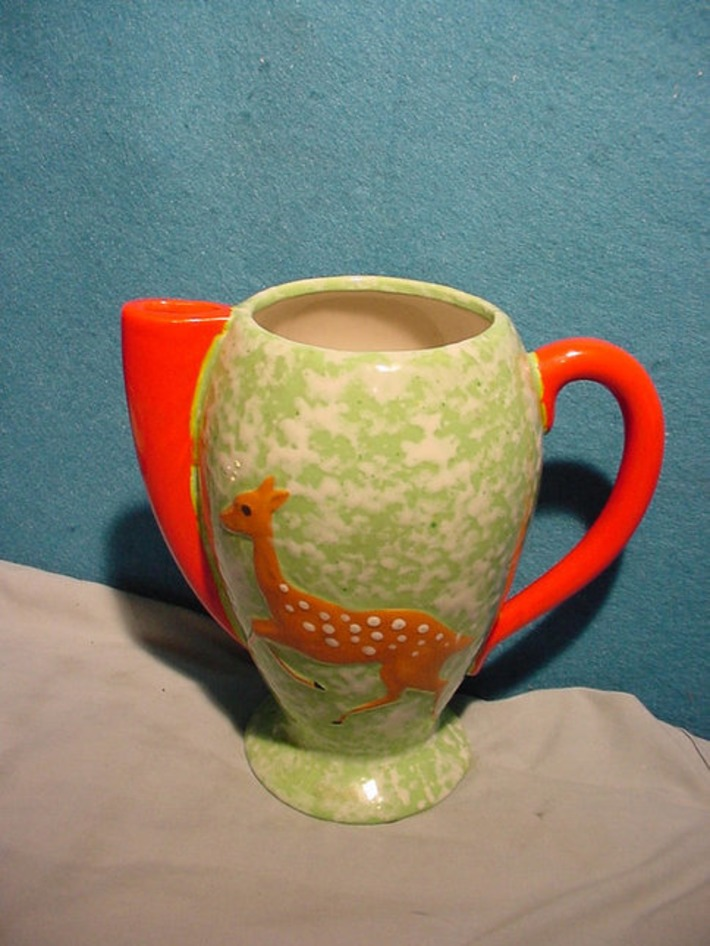 Art Deco Pitcher Speckled Pottery Japan With Deer Fawn Orange & Green | Antiques & Vintage Collectibles | Scoop.it