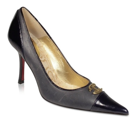 Just Cavalli Shoes High-Heel Navy Leather Pumps w/ Logo Plate (JC1504)   Online Shopping   Scoop.it