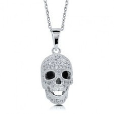 BERRICLE - Cubic Zirconia CZ Sterling Silver Cool 3D Skull Head Pendant Necklac | Berricle Necklaces | Scoop.it