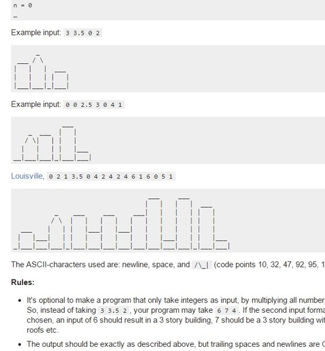 code golf - Help the architects visualize the skyline - Programming Puzzles & Code Golf Stack Exchange   ASCII Art   Scoop.it