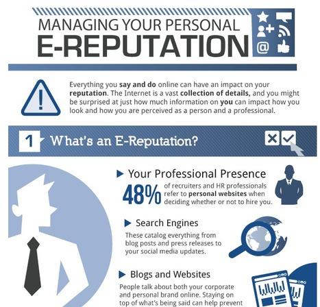 4 conseils pour gérer votre e-réputation professionnelle [infographie] [en] | e-réputation, outils de veille et monitoring | Scoop.it