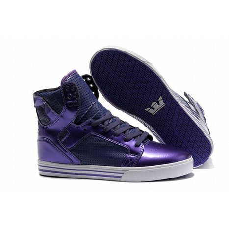 Men White and Purple High Top Supra Skytop Skate Shoes | fashion list | Scoop.it