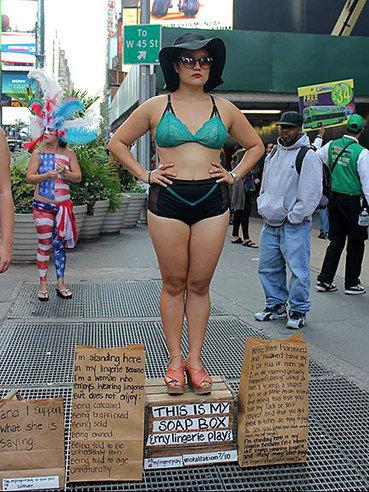 Performance Artist Wears Lingerie Around New York City to Protest Slut-Shaming - People Magazine | slut-shaming | Scoop.it