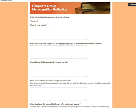 Metacognition Reflection (Interactive Form/Google Form)   1984: EdTech examples   Scoop.it