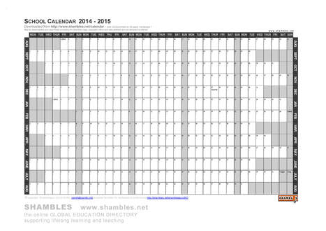 2014-2015 editable A3 Sch Calendar .doc .pdf .jpg | What's New on Shambles.NET | Scoop.it