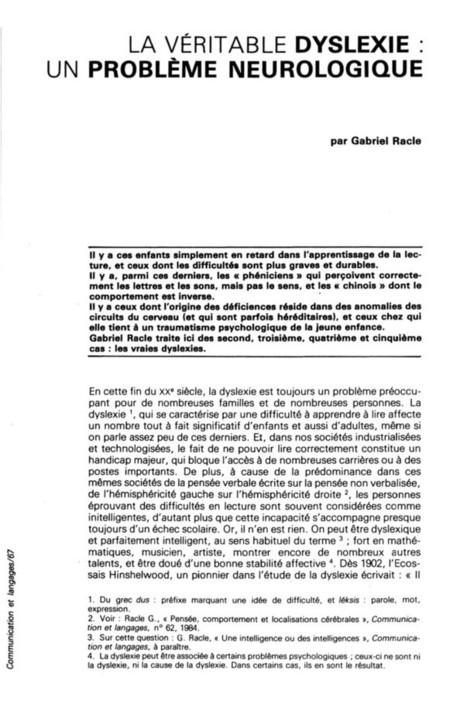 Persée : Portail de revues en sciences humaines et sociales | Dyslexie | Scoop.it