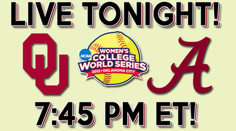 Game One WCWS: Oklahoma vs. Alabama at 7:45 PM ET! | Sooner4OU | Scoop.it