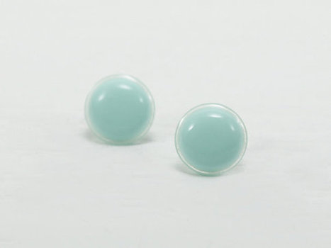 Mint Green Stud Earrings 14mm - Mint Earrings - Mint Green Waterproof Round Stud Earrings - Mint Post Earrings - Surgical Steel Earring | Jewelry & Accessories | Scoop.it