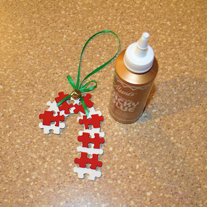 Puzzle Piece Candy Cane Ornament Craft | Christmas Decorations | Scoop.it