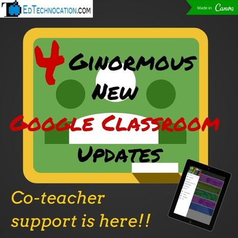 EdTechnocation: 4 GINORMOUS Google Classroom Updates! (April 21, 2015) | Apps for productivity in teaching | Scoop.it