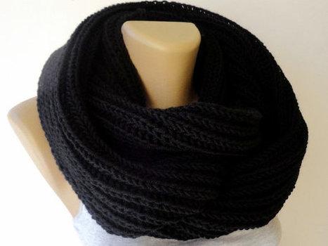 black unisex scarf ,knitted scarf, women scarf, men scarf, infinity scarf, eternity winter scarf, cowl scarf | Winter Fashions | Scoop.it