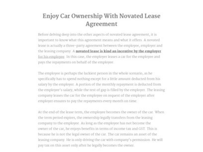 Enjoy Car Ownership With Novated Lease Agreement | Street Fleet | Scoop.it